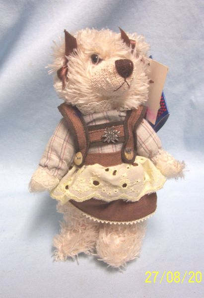 "COLLECTIBLE BEAR: Plush Stuffed Teddy Bear White 8"" H w /Metal Stand Kuschelwuschel Germany"
