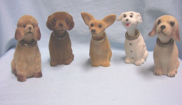 """NOVELTY ITEM: Set (5) Bobbing Head Dogs Collectible Nodding Head Dogs 4 1/2"""" T"""