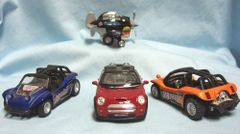 TOY VEHICLES: Set (4) Vehicles - Sports Car, Terrain Vehicles, Sky Shark Plane Pull Back Action