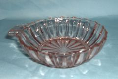 BOWL: Vintage Depression Glass Berry Bowl Fortune Hocking Handled Pink Bowl 4 1/2""