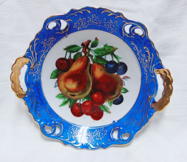 CHINA BOWL - VINTAGE NORCREST Hand-painted DECORATIVE BOWL with Handles