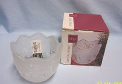 "VOTIVE BOWL: Nice Decorative Christmas Crystal Votive Bowl by Mikasa 3"" Germany Santa & Deer"