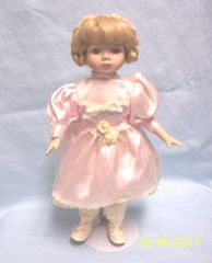 DOLL: Collectible Porcelain Doll with Metal Stand Pink Satin Dress Fashionable Doll