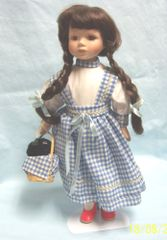 "DOLL: Collectible 14"" Porcelain Doll Checkered Blue Dress Red Slippers & Black Dog"
