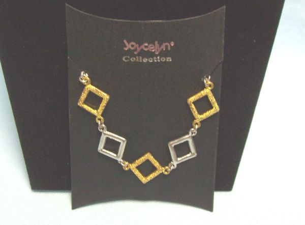 JEWELRY: Fashionable Bracelet with Gold & Silver Color Square Links & Lobster Clasp by Joycelyn Collection