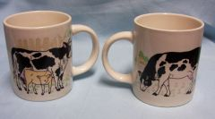 "CUPS: Pair Coffee Mugs,Tea Cups with Cows Designs on White Coffee Cups 4"" Tall Ceramic"