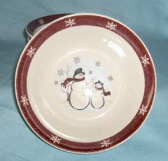 BOWLS set of (3) Cereal Bowls STONEWARE Holiday Snowmen RN-1 ROYAL SEASONS