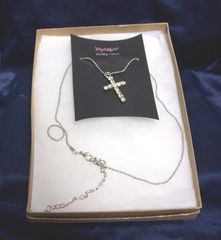 JEWELRY: Crystal Cross Pendant with Beaded Style Chain by Joycelyn Collection
