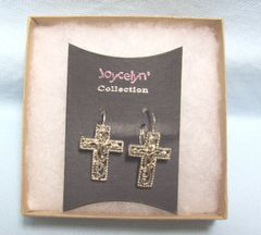 JEWELRY: Beautiful Cross Pierced Earrings by Joycelyn Collection Lever-Back Fasteners