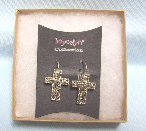 JEWELRY: Beautiful Cross Pierced Earrings by Joycelyn Collection Lever-Back Fasteners