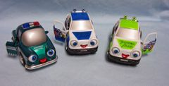ACTION TOYS: Set of (3) Diecast Metal Whimsical IQ Cars Pull Back Action Eyes & Tonque move