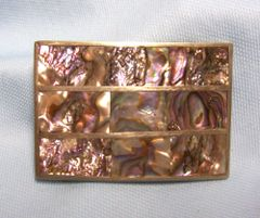 BELT BUCKLE: Mexican Silver Belt Buckle with Different Squares of Beautiful Abalone (buckle 2)