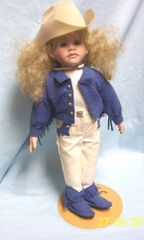 "DOLLS: Collectible Porcelain 16"" Doll in Western Attire Blonde Hair Blue Eyes Metal Stand"
