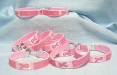 BRACELETS: 12 Flexible Bracelets Bangles Wristband FIND THE CURE WristBands Pink Ribbons
