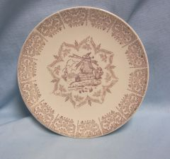 "PLATE: Vintage Knowles Plate 1"" Gold Trim Border USA 51-7 Picture of Windmill 8"" Dia."