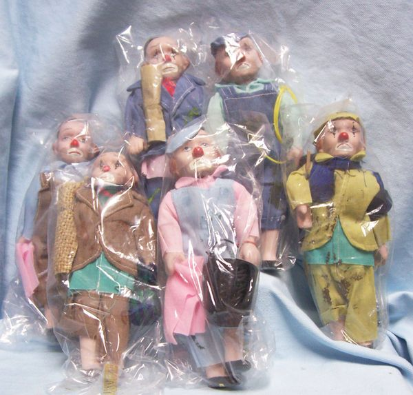 "FIGURINES: Set (6) Collectible Hobo Clowns Figurines Porcelain 8"" Tall with Cleaning Tools"