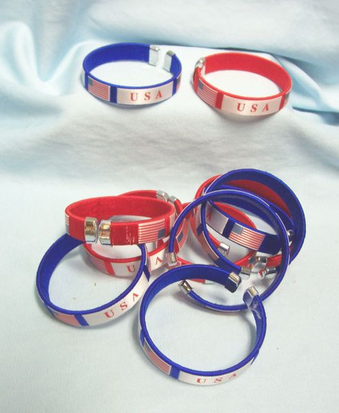 WRIST BANDS: (11) Flexible Bracelets Bangles Wristband USA American Flag + (4) PEACE WristBands