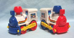 ACTION TOYS: Pair Toy Trains Mini Vehicles Pull Back Action Red/Blue Trim Engine Sounds