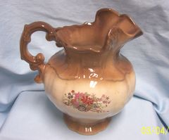 PITCHER: Collectible Vintage 1975 Arneis Brown Water Pitcher, Arneis Pottery Pitcher