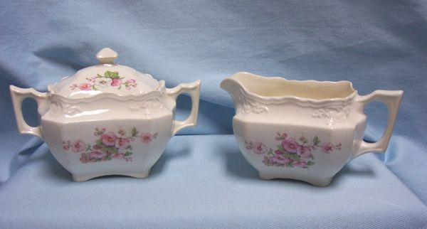 CREAMER & SUGAR BOWL WITH LID: Vintage Ivory Color Sugar Bowl w/Lid & Creamer Floral Design