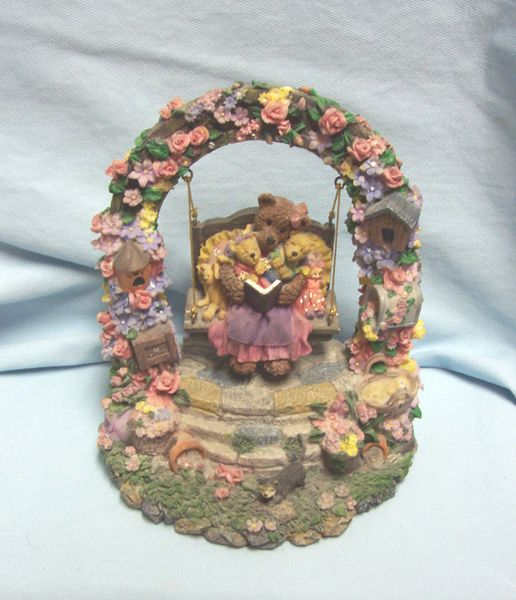 "MUSIC BOX: Vintage Collectible Teddy Bears in Free Moving Swing Music Box ""Happy Days are Here Again"""