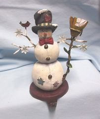 "STOCKING HOLDER: Vintage Stocking Hanger, Christmas Snowman with Broom & Red Bird on Cast Iron Base 7.75"" T"