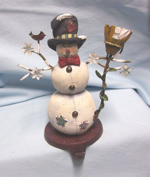 """STOCKING HOLDER: Vintage Stocking Hanger, Christmas Snowman with Broom & Red Bird on Cast Iron Base 7.75"""" T"""