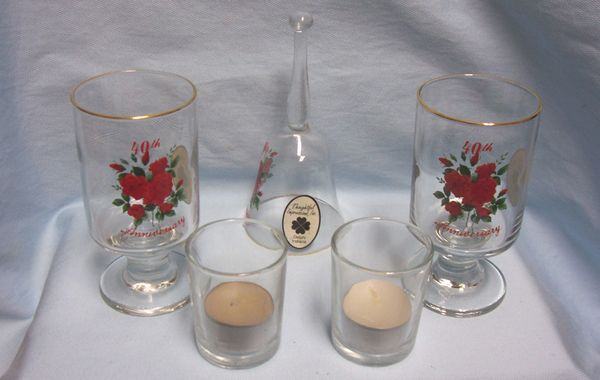 ANNIVERSARY COLLECTIBLES: 40th Anniversary Set 5 pieces by Thoughtful Impression Tealights, Glasses, Bell