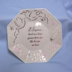 COLLECTIBLE PLATE/DISH: Enesco 25th Wedding Anniversary Decorative Ivory Plate/Dish