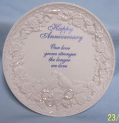 COLLECTIBLE PLATE: Happy Anniversary Decorative Plate 2001 by Enesco