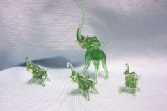 MINIATURES: Set (4) Miniature Green Blown Glass Elephants Collectible Figurines
