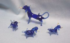 MINIATURES: Vintage Blue Color Blown Glass Father Bull with (3) Babies Collectible Figurines