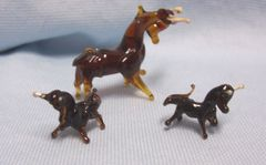 MINIATURES: Set (3) Vintage Brown Blown Glass Bull Collectible Figurines