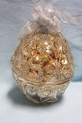 CHRISTMAS ORNAMENT: Silver & Gold Treasure Ornament Ball from International Silver Company
