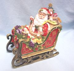 CHRISTMAS DECORATION: Musical Holiday Santa in Sleigh by Fitz & Floyd - 'Toyland'