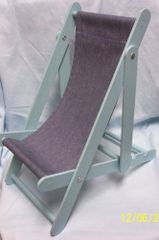 DOLL FURNITURE: Cute Wooden Doll Beach Chair/Deck Chair for Dolls 3 Positions Folds Flat