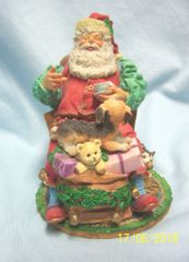 CHRISTMAS DECORATION: Dept. 56 Collectible Santa Claus Figurines Relaxing w/cup of Cocoa 'In the Spirit'