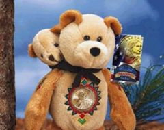 "SACAGAWEA GOLD COIN BEAR Sacagawea & Baby Pomp Dollar COLLECTIBLE PLUSH 9"" BEAR"