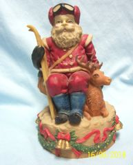 SANTA FIGURINE: Collectible Santa Claus with Skis and his Deer 1990's Heavy Resin Great Detail