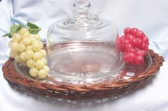 SERVING PLATE - Vintage Centerpiece Cheese Plate, Dome, Wicker Basket, 2 sets Grapes