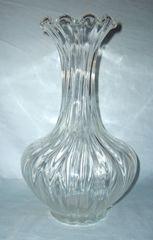 "VASE - Beautiful Clear Glass 12.5"" Tall Vase Tall Cylinder Neck Ruffled Edging around Rim"