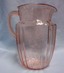 PITCHER: Vintage 60 oz Pink Depression Glass Pitcher Mayfair by Anchor Hocking