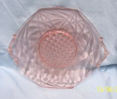 DEPRESSION GLASS: Serving Platter Pink Glass Handled Octagon by Lancaster - LANA