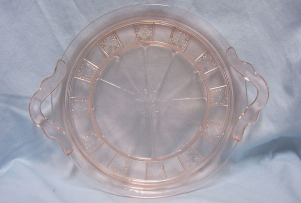 DEPRESSION GLASS: Pink Depression Glass Handled Round Serving Platter/Plate by Jeannette - DORIC PINK