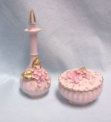 VANITY SET: Vintage 1950's Perfume Bottle & Stopper with Powder Box/Dish & Lid PInk with Clear Jewels
