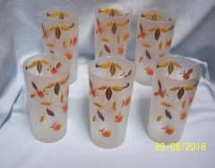 HALL JEWEL TEA TUMBLERS: Set of (6) Vintage Frosted 12 oz. Drinking Glasses/Tumblers by Hall - Autumn Leaf
