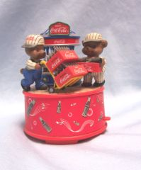 MUSIC BOX: Vintage Coca-Cola Wind Up Music Box Bears Hauling Coke Bottles from Bottler
