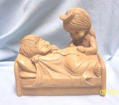 "FIGURINE: FannyKins Chalkware Statuary/Figurine Fanny Kins by Bill Mack - Nurse Giving Shot- ""Bottoms Up"""