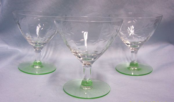 DEPRESSION GLASSES: Set (3) Elegant Green Depression Sherbet Glasses/Champagne Glasses