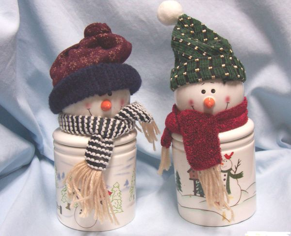 "DECORATIVE CANDLE HOLDERS: Pair 10"" Snowmen Candle Holder with Removable Heads"